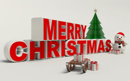 Merry Christmas 3d text, snowman,sled,and gift high resolution Stock Photo