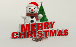 Merry Christmas 3d text, snowman,sled,and gift high resolution Stock Image