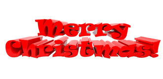Merry Christmas 3d text on white background Royalty Free Stock Photo