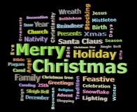 Merry Christmas 3D texts greetings word cloud facing left. Isolated on black background Stock Images