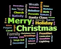 Merry Christmas 3D texts greetings word cloud facing right. Isolated on black background Royalty Free Stock Photography