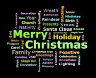 Merry Christmas 3D texts greetings word cloud. Isolated on black background Stock Photos