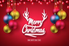 Merry Christmas 3D Typography and Happy New Year Realistic Red Banner Stock Image