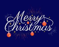 Merry christmas with dark background. Merry christmas with with red circles and rays, illustration design, isolated on white background Royalty Free Stock Photos