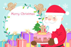 Merry christmas day. On the blue background Royalty Free Stock Photo