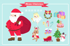 Merry christmas day. On the blue background Royalty Free Stock Images