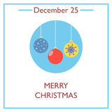 Merry Christmas. December 25. Vector illustration for you design, card, banner, poster and calendar Royalty Free Stock Photography
