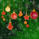 Merry christmas decoration balls and toys on the christmas tree. Vector background Royalty Free Stock Photos
