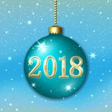 Merry Christmas 2017 decoration on blue background. 3d ball. Stars, glitter, number, green bauble, white snowflakes. Bright xmas card. Happy New Year Stock Image