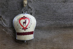 Merry Christmas Decoration Deer on Tin Bell Royalty Free Stock Images