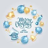 Merry Christmas decoration 2019 royalty free illustration