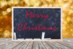 Merry Christmas Decoration on luxury bokeh and wood. Stock Photos