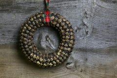 Merry Christmas Decoration Pinecone Wreath Royalty Free Stock Photo