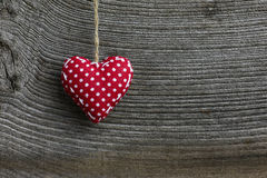 Merry Christmas Decoration Polka Dot Fabric Heart Royalty Free Stock Photo
