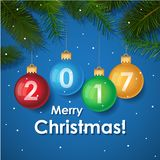 Merry Christmas 2017 decoration poster card.. Merry Christmas 2017 decoration poster card background . New Year background with tree branches, snowflakes. 2017 Royalty Free Stock Images