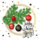 Merry Christmas 2017 decoration poster card. And Happy New year background with toys collected in the form of a Christmas tree, 2017 Year symbol, the fire cock Stock Photo