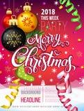 Merry Christmas 2018 decoration poster card Stock Photos