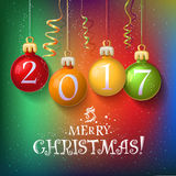 Merry Christmas 2017 decoration poster card. Merry  2017 decoration poster card.  Year background  with garlands, streamer and snowflakes. Year symbol, the fire Stock Photos