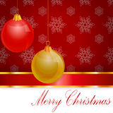 Merry_christmas. Christmas decoration on a red background with snowflakes Royalty Free Stock Photo