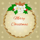 Merry Christmas decoration round frame with jasmine vector Royalty Free Stock Images