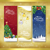 Merry Christmas decorations banner set. Over golden background Stock Photography