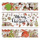 Merry Christmas decorations and design elements isolated on whit. Set of two horizontal Christmas decorations. Christmas tree and balls, Santa with sack, snowman vector illustration
