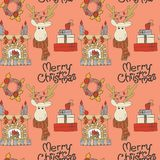 Merry Christmas decorations doodle seamless vector pattern 2018. With deer, gifts, fireplace and hand drawn lettering Royalty Free Stock Photos