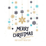 Merry Christmas Decorations. Hanging snowflakes and merry christmas sign. Vector illustration Stock Images