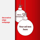 Merry Christmas - decorative edge webpage, Christmas balls for advertising text on the red background Stock Photography