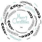 Merry Christmas! Decorative greating card. Simple holiday post card design. Royalty Free Stock Image