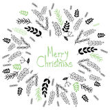Merry Christmas! Decorative greating card. Simple holiday post card design.  Royalty Free Stock Photos