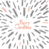 Merry Christmas! Decorative greating card. Simple holiday post card design. Poster themplate. Vector Stock Photography