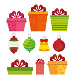 Merry christmas decorative stuffs and pine tree. Design, vector illustration eps 10 Royalty Free Stock Images