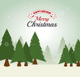 Merry christmas decorative stuffs and pine tree Royalty Free Stock Image