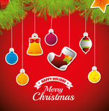 Merry christmas decorative stuffs and pine tree. Design, vector illustration eps 10 Stock Image