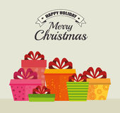Merry christmas decorative stuffs and pine tree. Design, vector illustration eps 10 Royalty Free Stock Photography