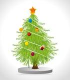Merry christmas decorative stuffs and pine tree. Design, vector illustration eps 10 Stock Photos