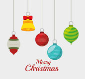 Merry christmas decorative stuffs and pine tree. Design, vector illustration eps 10 Stock Photo
