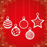 Merry christmas decorative stuffs and pine tree Royalty Free Stock Photo