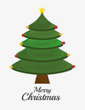 Merry christmas decorative stuffs and pine tree Royalty Free Stock Photography