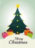 Merry christmas decorative stuffs and pine tree Stock Photo