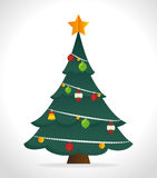 Merry christmas decorative stuffs and pine tree. Design, vector illustration eps 10 Royalty Free Stock Photo