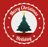 Merry christmas decorative stuffs and pine tree. Design, vector illustration eps 10 Stock Images