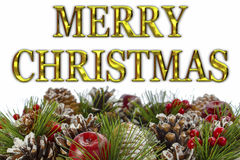 Merry Christmas With Decorative Wreath. Christmas decorative wreath with gold Merry Christmas message Royalty Free Stock Photo