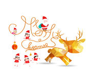 Merry christmas with deer and balls gold geometrical greeting card Stock Image