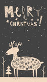 Merry Christmas deer card Royalty Free Stock Image