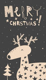 Merry Christmas deer card. Vector illustration of cute deer with stars. Sign Merry Christmas, funny font, black background. Lovely card for the holiday Stock Photos