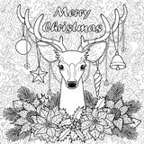 Merry Christmas Deer on Doodle Seamless Background Royalty Free Stock Photos