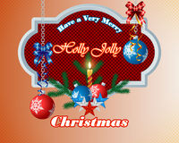 Merry Christmas, design background with Christmas balls and bow ribbons. Merry Christmas, design background with Christmas balls hanging from silver chains and Stock Photography