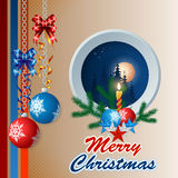 Merry Christmas, design background with Christmas balls hanging from silver chains and bow ribbons Royalty Free Stock Images